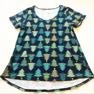 LuLaRoe Christmas Tree Print Tunic Tee Top